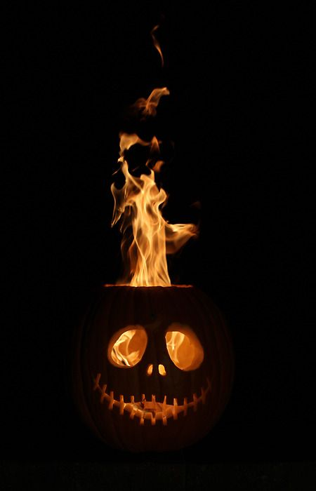 Flaming Halloween pumpkin..