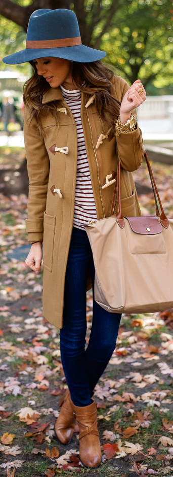 Camel Coat + Stripe Turtleneck