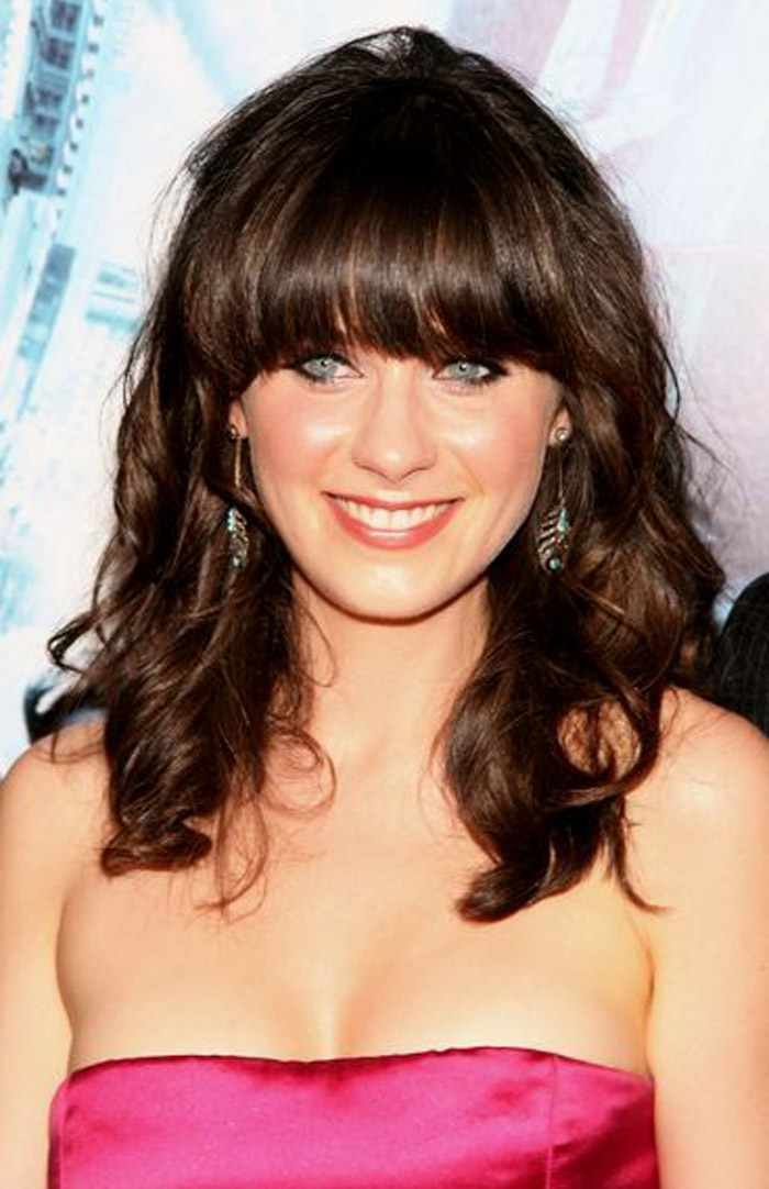 Curly Medium Length Hairstyles with Bangs