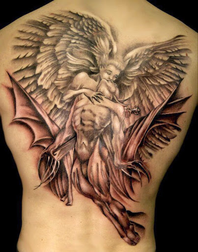 Angel kissing tattoo design on full back