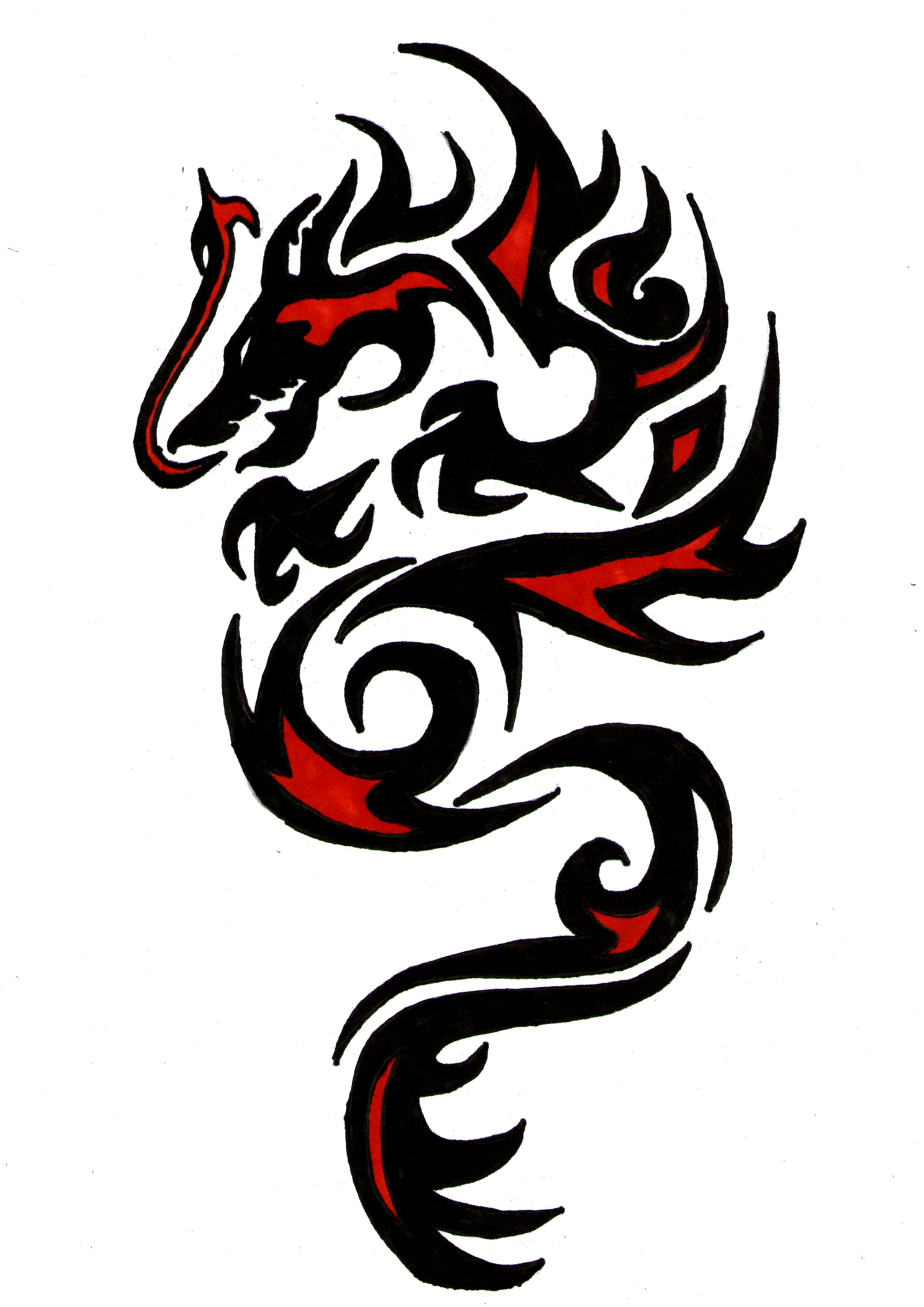 tribal-red-and-black-ink-dragon-tattoo-design