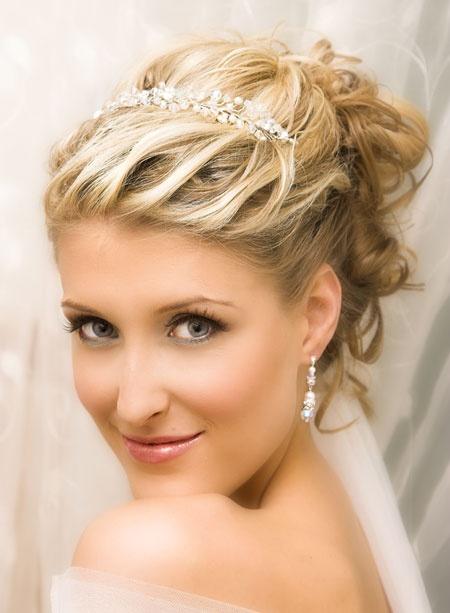 Short Wedding Hairstyles with Tiara