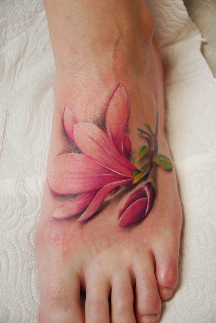 Flower Tattoos On Foot