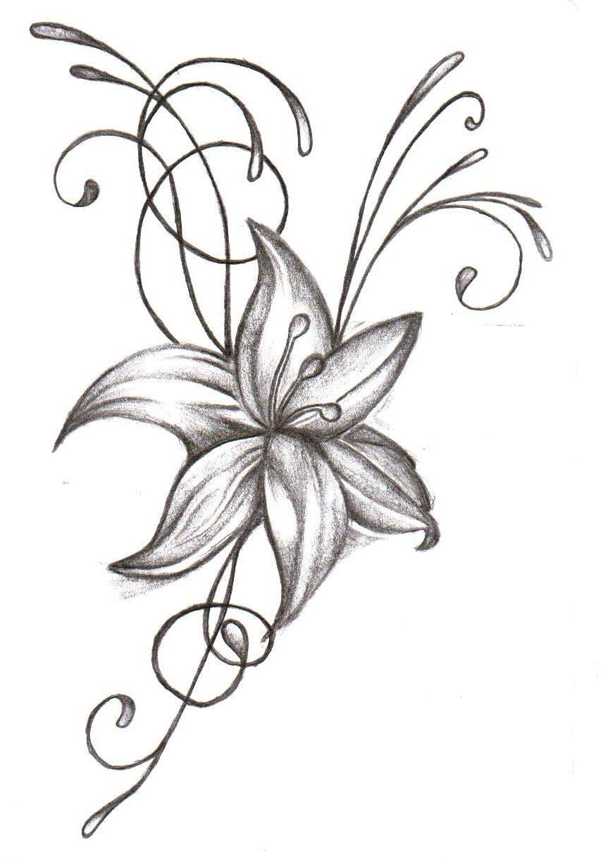 Grey Flower Tattoo Design Idea