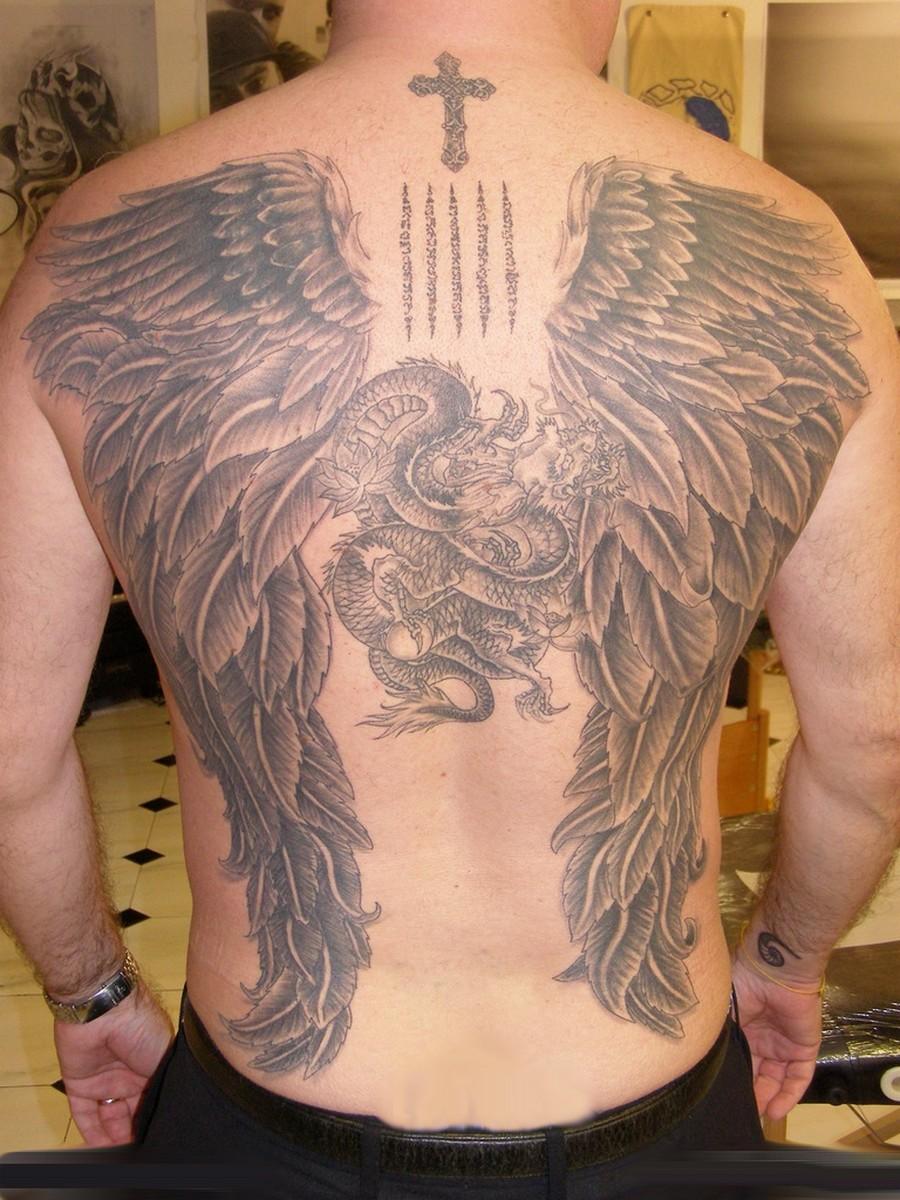 Guardian Angel Wings Tattoos for Men