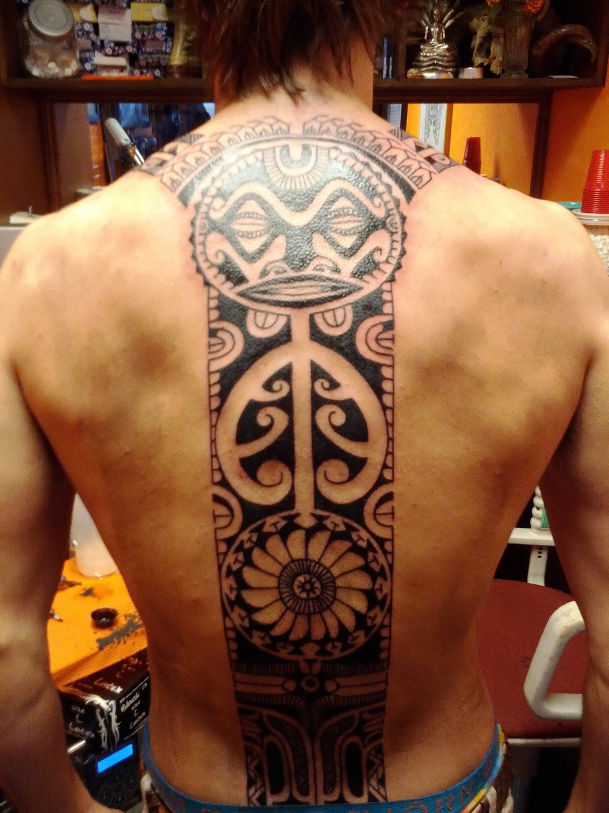 Polynesian Back Tattoo