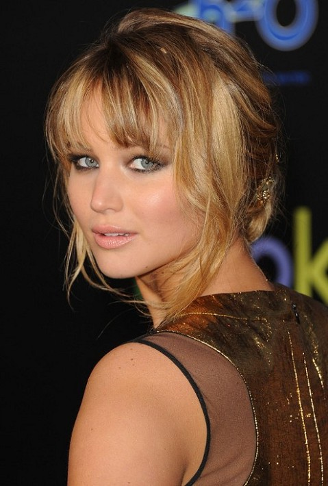 Jennifer Lawrence Updo with Bangs