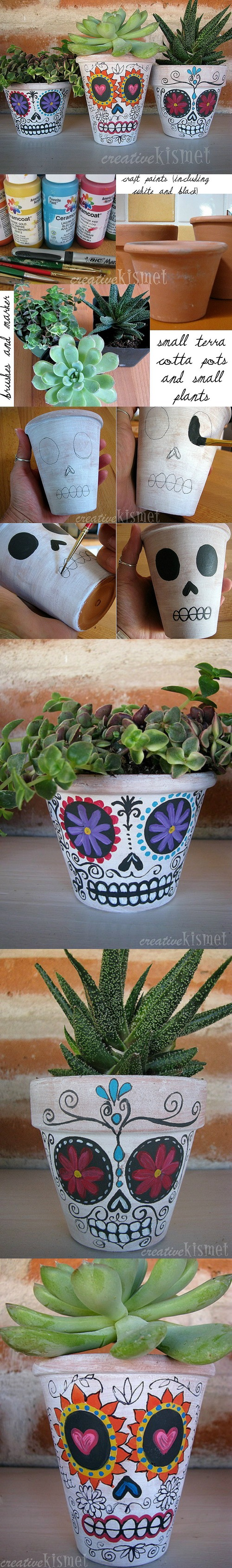 4 Day of the Dead Planters